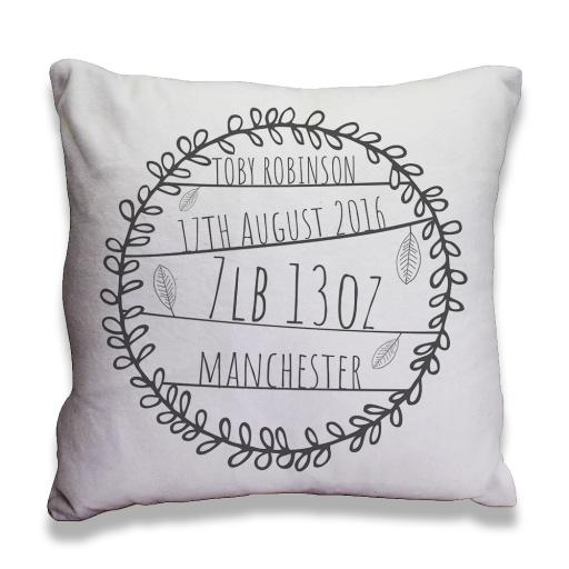 Name,Date,Weight,Place - Faux Suede - Double Sided print - 45cm x 45cm