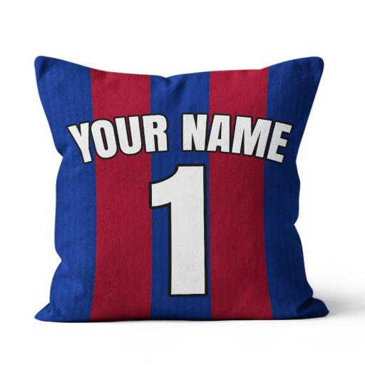 Football - Barcelona Home Kit Personalisation name and number - Faux Suede - Double Sided print - 60cm x 60cm
