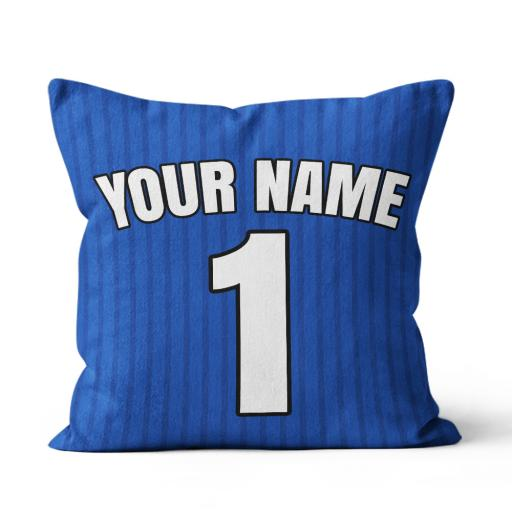 Football - Leicester Home Kit Personalisation name and number - Faux Suede - Double Sided print - 45cm x 45cm