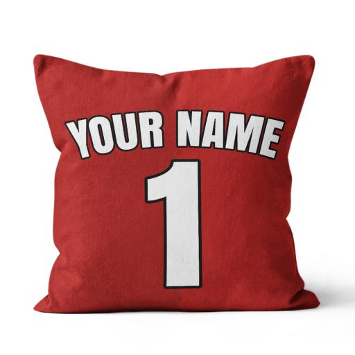 Football - Man Utd Home Kit Personalisation name and number - Faux Suede - Double Sided print - 45cm x 45cm