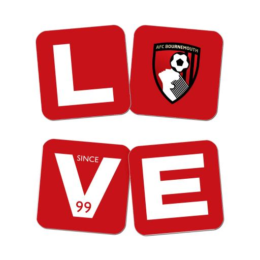 AFC Bournemouth Love Coasters (x4)