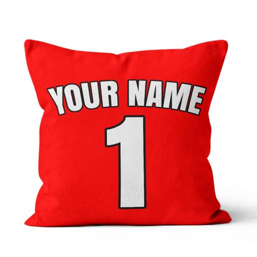 Football - Liverpool Home Kit Personalisation name and number - Faux Suede - Double Sided print - 45cm x 45cm