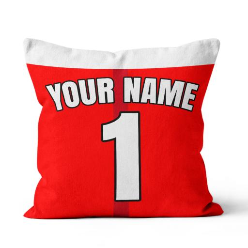 Football - Arsenal Home Kit Personalisation name and number - Faux Suede - Double Sided print - 45cm x 45cm