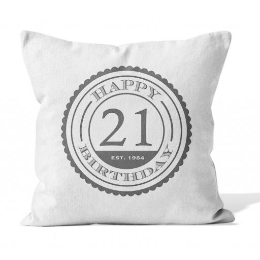 Birthday EST year - Smooth Linen - Double Sided print - 45cm x 45cm