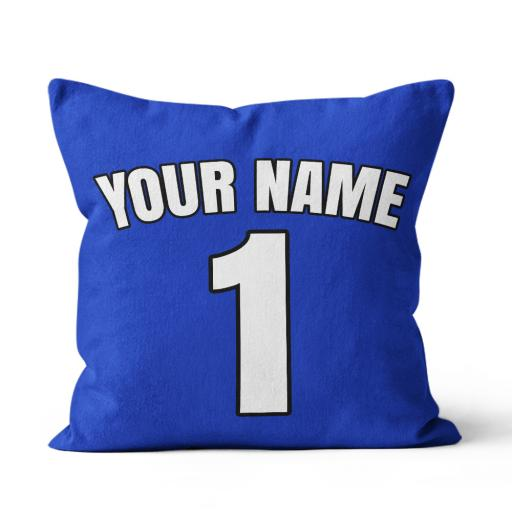 Football - Chelsea Home Kit Personalisation name and number - Faux Suede - Double Sided print - 45cm x 45cm