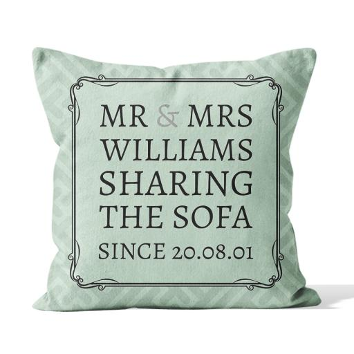 Mr & Mrs Surname Sharing The Sofa Since Date - Smooth Linen - Double Sided print - 45cm x 45cm