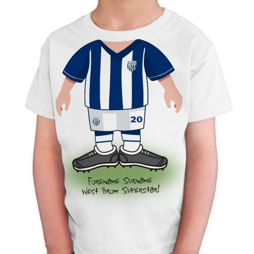 Personalised West Bromwich Albion FC Kids Use Your Head T-Shirt.