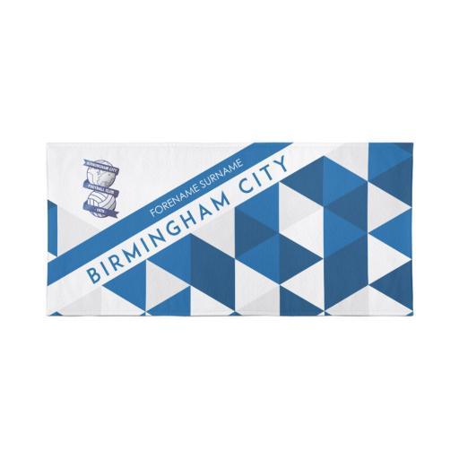 Personalised Birmingham City Personalised Towel - Geometric Design - 80 x 160.