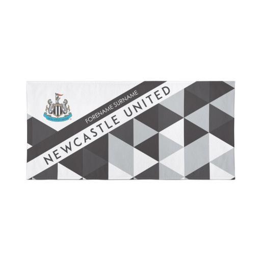 Personalised Newcastle United Personalised Towel - Geometric Design - 70 x 140.