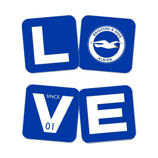 Personalised Brighton & Hove Albion FC Love Coasters (x4).