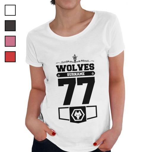 Personalised Wolves Ladies Club T-Shirt.