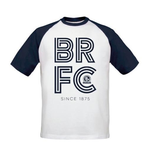 Personalised Blackburn Rovers FC Stripe Baseball T-Shirt.