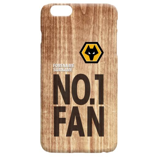 Personalised Wolves No 1 Fan Hard Back Phone Case.