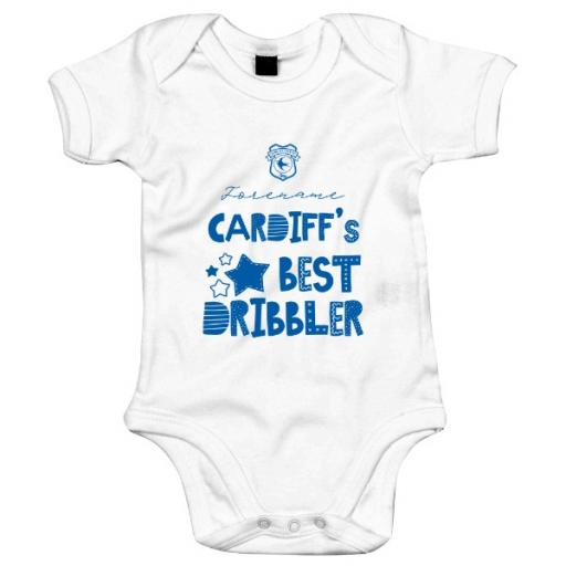 Personalised Cardiff City Best Dribbler Baby Bodysuit.