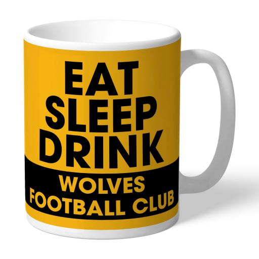 Personalised Wolves Eat Sleep Drink Mug.
