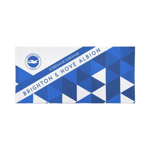Personalised Brighton & Hove Albion Personalised Towel - Geometric Design - 70 x 140.