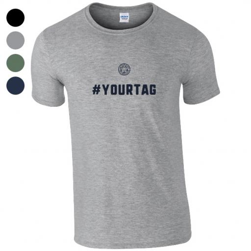 Personalised Leicester City FC Crest Hashtag T-Shirt.