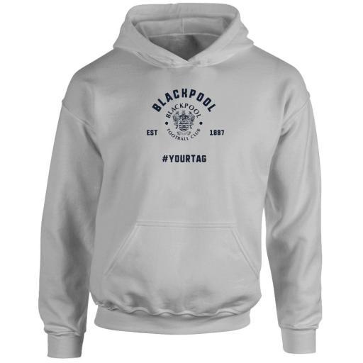 Personalised Blackpool FC Vintage Hashtag Hoodie.