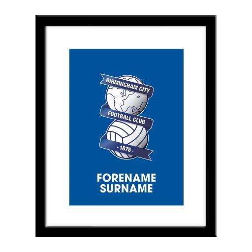 Personalised Birmingham City Bold Crest Print.