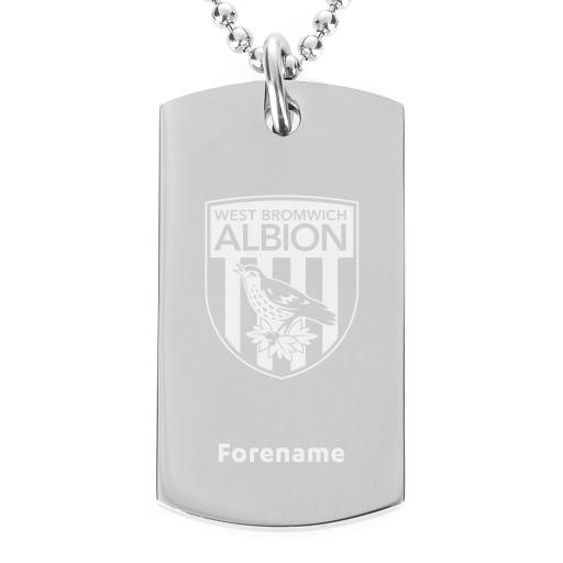 Personalised West Bromwich Albion FC Crest Dog Tag Pendant.