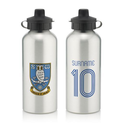 Personalised Sheffield Wednesday Retro Shirt Water Bottle.
