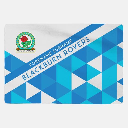 Personalised Blackburn Rovers FC Geometric Sherpa Fleece Blanket.