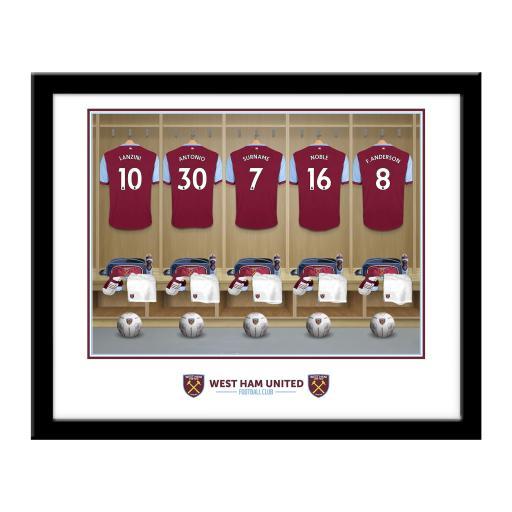 Personalised West Ham United FC Dressing Room Framed Print.