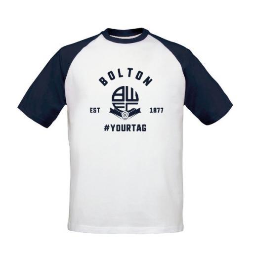 Personalised Bolton Wanderers FC Vintage Hashtag Baseball T-Shirt.