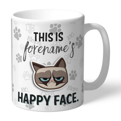 Grumpy Cat Emoji - Happy Face Mug Grey