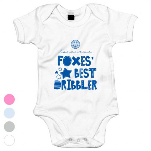 Personalised Leicester City FC Best Dribbler Baby Bodysuit.