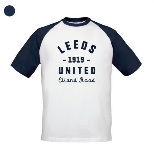 Personalised Leeds United FC Stadium Vintage Baseball T-Shirt.