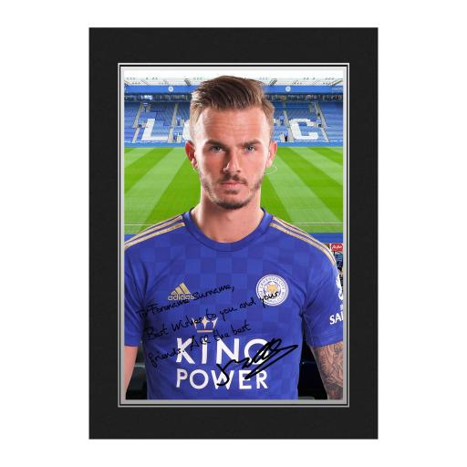 Personalised Leicester City FC Maddison Autograph Photo Folder.