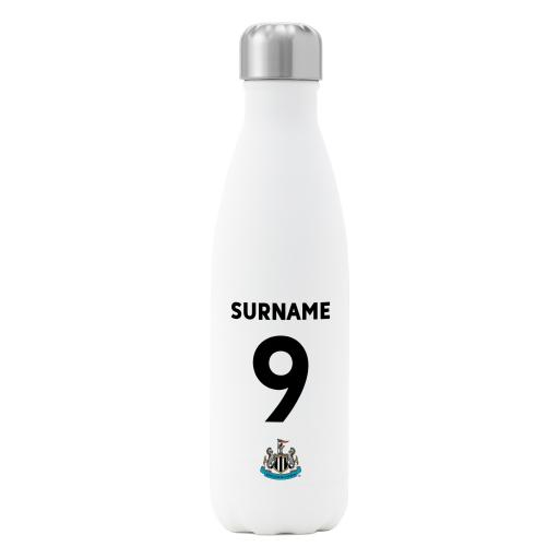 Personalised Newcastle United FC Back of Shirt Insulated Water Bottle - White.