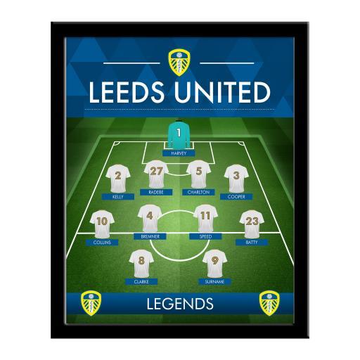 Personalised Leeds United FC Legends Line-Up Print - Framed.