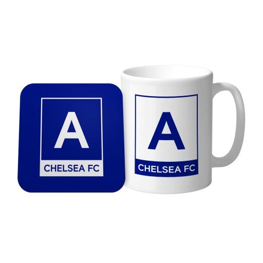 Chelsea FC Monogram Mug & Coaster Set