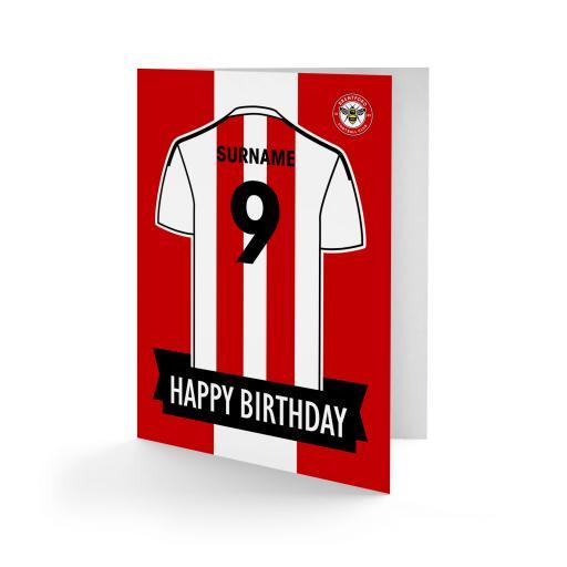 Brentford FC Shirt Birthday Card