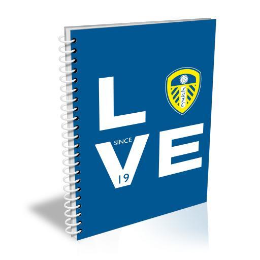Personalised Leeds United Love Notebook.