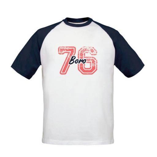 Personalised Middlesbrough FC Varsity Number Baseball T-Shirt.