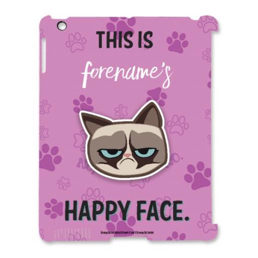 Grumpy Cat Emoji - Happy Face iPad Case Pink