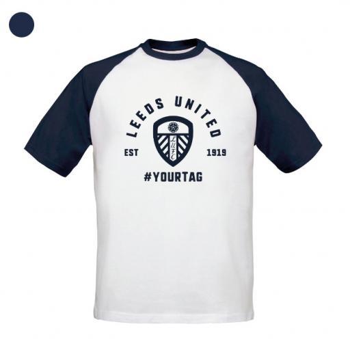 Personalised Leeds United FC Vintage Hashtag Baseball T-Shirt.