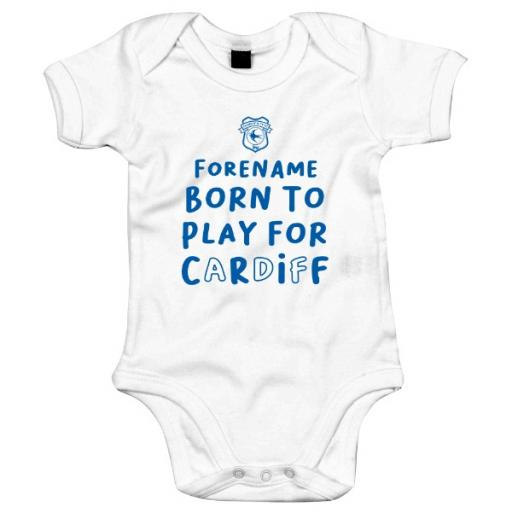 Personalised Cardiff City Born to Play Baby Bodysuit.