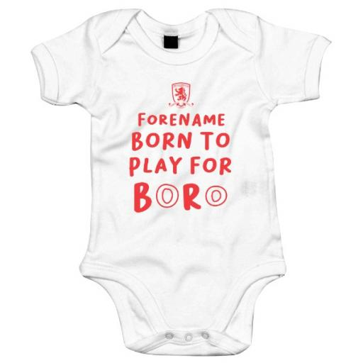 Personalised Middlesbrough FC Born to Play Baby Bodysuit.