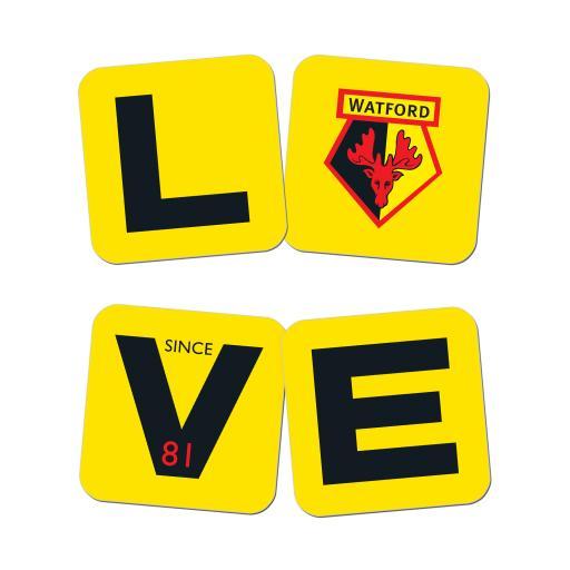 Watford FC Love Coasters (x4)