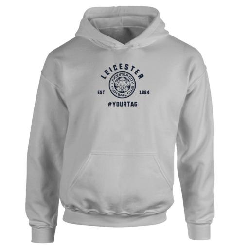 Personalised Leicester City FC Vintage Hashtag Hoodie.