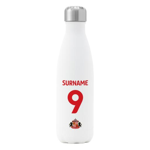 Personalised Sunderland AFC Back of Shirt Insulated Water Bottle - White.