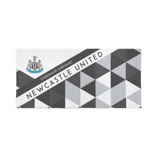 Personalised Newcastle United Personalised Towel - Geometric Design - 80 x 160.