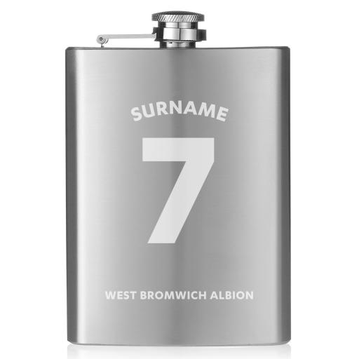 Personalised West Bromwich Albion FC Shirt Hip Flask.