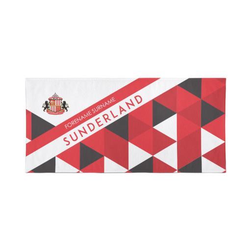 Personalised Sunderland Personalised Towel - Geometric Design - 80 x 160.