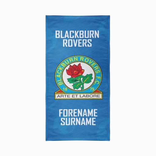 Personalised Blackburn Rovers FC Crest Design Towel - 70cm x 140cm.