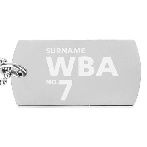 Personalised West Bromwich Albion FC Number Dog Tag Pendant.